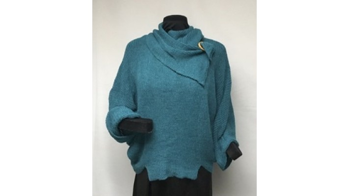Frileuse bouton turquoise