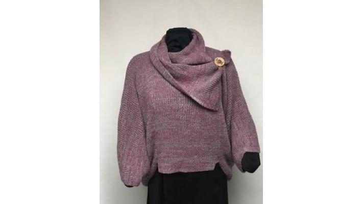 Frileuse bouton rose foncée tweed gris