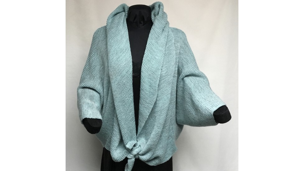 Châle Tweed  turquoise gris