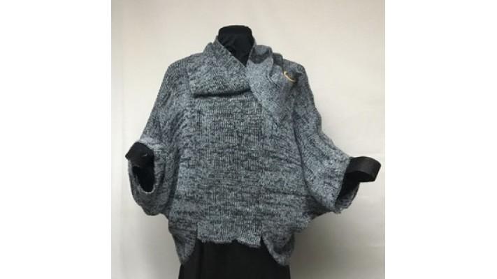 Frileuse bouton bleu tweed