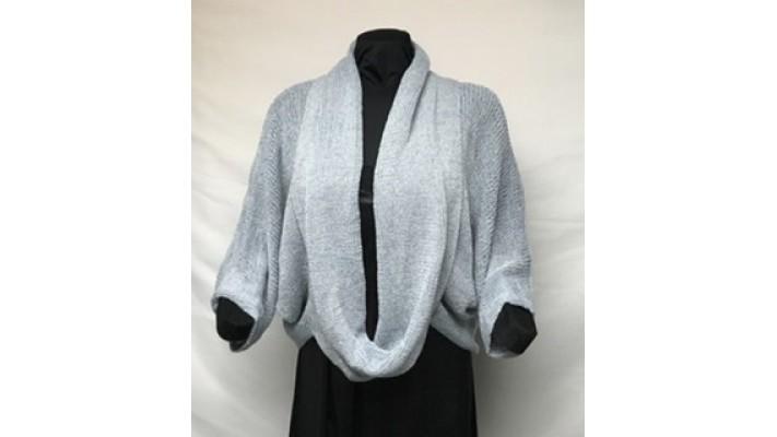 Col rond bleu gris tweed