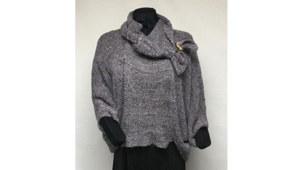 Frileuse bouton lilas tweed mohair gris