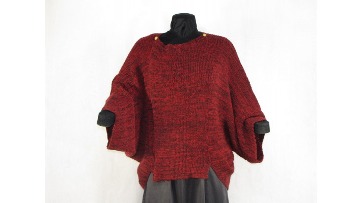 veste carrée rouge tweed