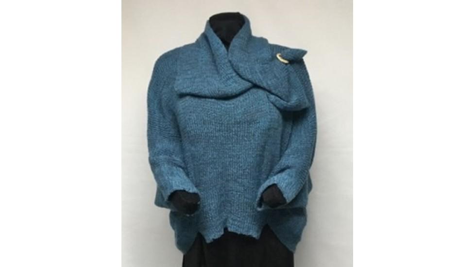 Frileuse bouton , tweed paon gris