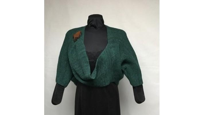 Boléro bouton vert forêt tweed