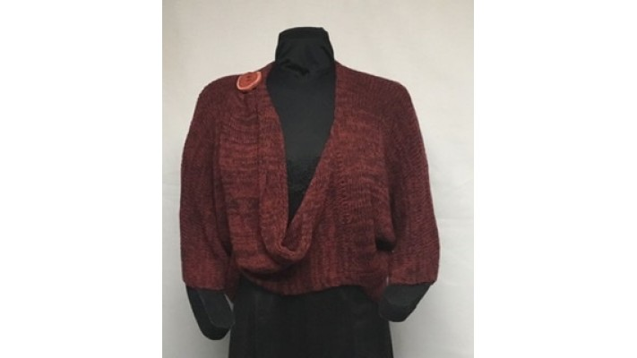 Boléro bouton rouge tweed brun