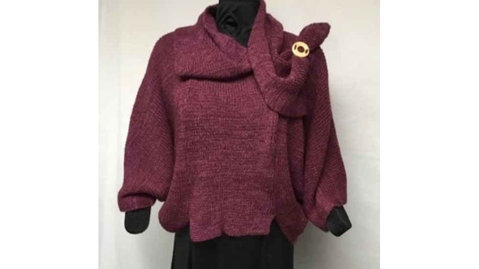 Frileuse bouton bourgogne tweed