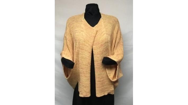 Veste carrée jaune tweed cerise